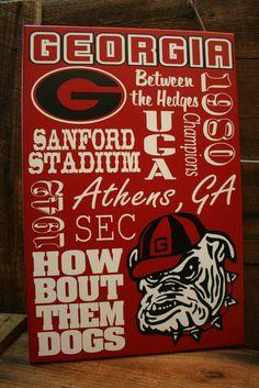 Georgia Bulldogs UGA Collage Subway wall Sign