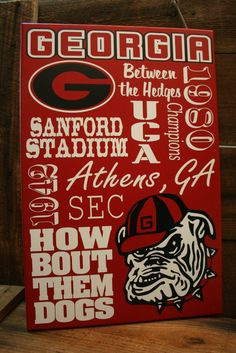 Georgia Bulldogs UGA Collage Subway wall Sign