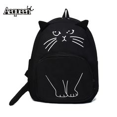 Backpacks AEQUEEN Lovely Cat Printing Backpack Women Canvas Backpack School Bags For Teenagers Ladies Casual Cute Rucksack Bookbags ** View the fitness item in details by clicking the image Cute Backpacks For School, Girl Backpacks, Canvas Backpacks, Cat Backpack, Black Backpack, Backpack Online, Cat Bag, Accesorios Casual, Adolescents