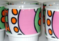 Vintage 60s Coffee Cups Psychedelic by CherryRiversVintage on Etsy, $18.00