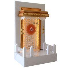 furniture designs Designer Mandir Wooden Pooja Ghar mit L . Temple Design For Home, Dream Home Design, Home Decor Kitchen, Home Decor Bedroom, Bedroom Furniture, Eco Friendly Ganpati Decoration, Cladding Design, Altar Design, Mandir Design