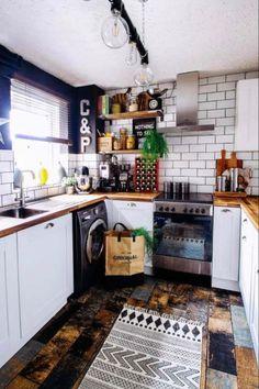 Wood Tile Kitchen, Wood Tile Floors, Wood Kitchen Cabinets, Kitchen Flooring, Kitchen Design, Wood Walls, Kitchen Island, Small Apartment Decorating, Apartment Interior Design