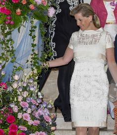 Sophie, Countess of Wessex looks at some of the flowers during a reception for the Guildford Flower Festival on 5 June 2013 in Guildford, England