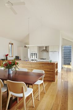 """Wallington Residence by Gunn Dyring Architecture. Benchtops: recycled messmate, Cupboards drawers: Amerind Laminate in """"Blanched Almond"""". Timber Flooring, Hardwood Floors, Timber Walls, Wall Colors, Paint Colours, Indoor Paint, Cupboard Drawers, Kitchen Dining, Kitchen Cabinets"""