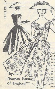 Vintage Norman Hartnell of England Spadea Sewing Pattern Formal Dress s 311 FF Vintage Dress Patterns, Clothing Patterns, Vintage Dresses, Vintage Outfits, 1950s Dresses, Vintage Clothing, Norman Hartnell, Retro Fashion, Vintage Fashion