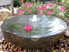 This smaller milled stone water feature is a beautiful welcome home to our clien… - DIY Garten Landschaftsbau Unique Gardens, Small Gardens, Outdoor Gardens, Stone Water Features, Indoor Water Features, Garden Art, Garden Design, Garden Crafts, Bird Bath Fountain