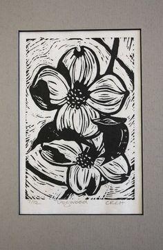 Dogwood Linoleum Block Print by CynthiaHarrington on Etsy Linoleum Block Printing, Dogwood Flowers, Japanese Prints, Linocut Prints, Unique Art, Making Ideas, Printmaking, Print Ideas, Block Prints