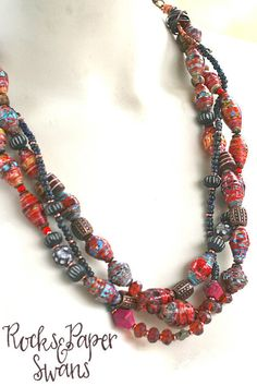 Ethnic Paper Bead Necklace - Red Beaded Necklace - Multi Strand Necklace - Mixed…