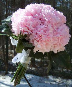 retro light pink carnation wedding bouquet by WeddingFlowerShop, $29.00