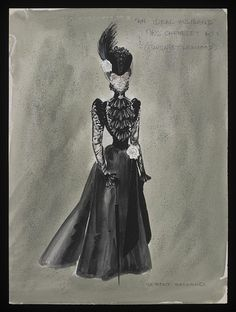 Costume design by Anthony Holland for Margaret Lockwood in the 1965 production of An Ideal Husband.  From the V