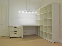 Blum Craft space in basement? Would the Ikea shelf even fit down the stairs? (or take apart & reassemble)Craft space in basement? Would the Ikea shelf even fit down the stairs? (or take apart & reassemble) Expedit Regal, Ikea Expedit, Ikea Shelves, Room Shelves, Kallax Desk, Ikea Cubbies, Kallax Shelving, Sewing Room Organization, Craft Room Storage
