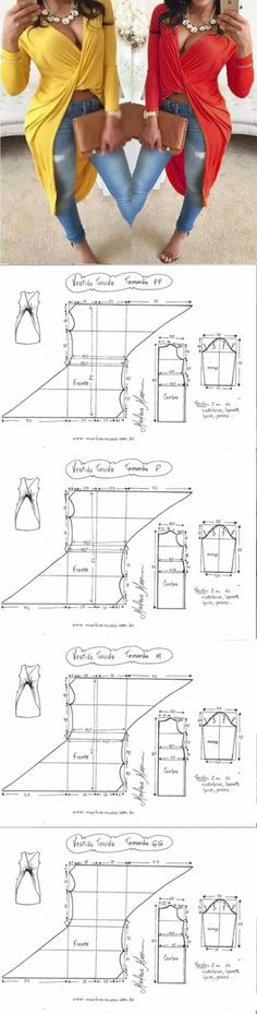 Top con cortinas y torsión / patrones simples / segunda calle