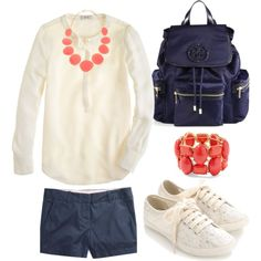 """""""Navy, coral, ivory."""" by preppyminusthepearls on Polyvore    365-Days-of-Outfits #365DOO #365DOO5   Day 5, January 5th.   Ivory top and lace sneakers, coral necklace and bracelet, navy shorts and Tory Burch backpack."""
