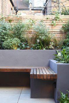 Concrete Garden Bench, Garden Planters, Garden Beds, Garden Benches, Fence Garden, Cement Pots, Built In Garden Seating, Wooden Garden, Garden Bench Seat