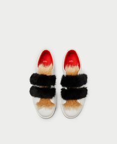 Image 4 of LEATHER SNEAKERS WITH FAUX FUR AND HOOK AND LOOP STRAPS from Zara