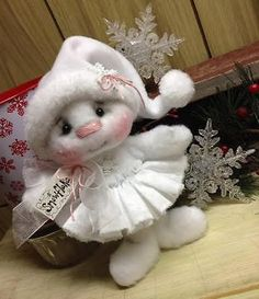 Primitive Raggedy Christmas Snowman Doll Snow **Special Order for BABYTULA**
