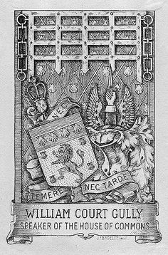 https://flic.kr/p/5XDA26 | [Bookplate of William Court Gully] | Artist: Badeley, Henry John Fanshawe, 1874-  Description: States, 'William Court Gully, Speaker of the House of Commons;' with motto 'Nec temere nec tarde;' features a shield with a lion and seashells, a helmet, and a crest with wings displayed and a hand with a sword. Signed at bottom 'J.F.Badeley. fecit.'  Format: 1 print, b&w, 13 x 9 cm.  Source: Pratt Institute Libraries, Special Collections 439 (sc00475)   Pratt Librari...