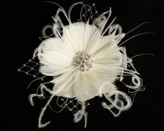 Bridal Feather Fascinator, Floral with French Tulle, Hairclip, Headpiece, Birdcage Veil - ODETTE - New