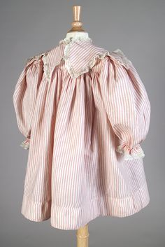 Child's dress of striped cotton, American, ca. 1880s, KSUM 1987.68.25.