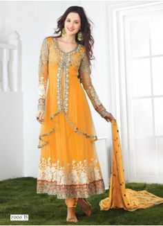 New Net Embroidered Based Yellow Anarkali Salwar Kameez  Detail: BOTTOM FABRIC: Santoon DUPATTA FABRIC: chiffon INNER FABRIC: Santoon STYLE: Anarkali Suit FABRIC: Net WORK: Embroidered COLOUR: yellow OCCASION: Party, Wedding, Festival