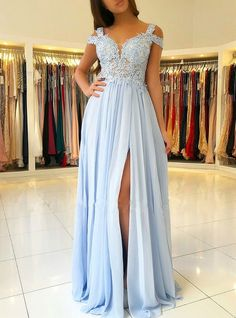 Plus Size Prom Dress, Off the Shoulder Blue Lace Thigh Split Maxi Formal Ball Gown Long Chiffon Prom Dresses Shop plus-sized prom dresses for curvy figures and plus-size party dresses. Ball gowns for prom in plus sizes and short plus-sized prom dresses Bridesmaid Dresses Long Blue, A Line Prom Dresses, Cheap Prom Dresses, Chiffon Dresses, Dress Prom, Dress Lace, Light Blue Prom Dresses, Wedding Dresses, Lace Chiffon