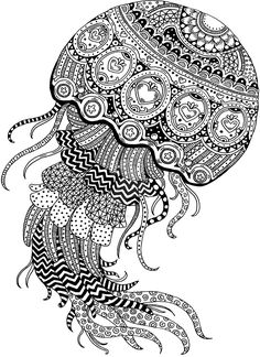 Abstract Coloring Pages Animals Jellyfish, from Animal Coloring Pages topics Coloring Pages For Grown Ups, Adult Coloring Book Pages, Printable Adult Coloring Pages, Animal Coloring Pages, Doodle Art Drawing, Zentangle Drawings, Mandala Drawing, Zentangle Patterns, Zentangles