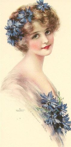 Cornflower Blue lady by J. Knowles Hare : j knowles hare Decoupage Vintage, Vintage Abbildungen, Images Vintage, Photo Vintage, Vintage Ephemera, Vintage Girls, Vintage Pictures, Vintage Beauty, Vintage Prints