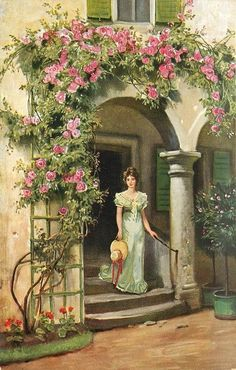 girl in green dress stands in porch, red/pink roses surround