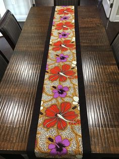 African print table runner, Ankara table runner, Border table runner, Floral print table runner, kitchen and dining, table linen, long African Interior Design, Purple Candles, African Home Decor, Home Decor Furniture, Table Runners, Interior Decorating, Tables, House Design, Table Decorations