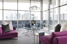Architecture:Modern Design Room With Large Glass Walls Design And Modern Stylish Purple Sofa And Sleek Table With Glass Stainless Steel Dini. Purple Sofa Design, Chair Design, City Apartment Decor, Glass Wall Design, Acrylic Chair, Acrylic Bench, Purple Home Decor, Interior Architecture, Interior Design