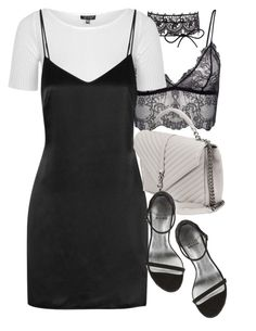 """Untitled #11202"" by minimalmanhattan ❤ liked on Polyvore featuring Topshop, La Perla, Yves Saint Laurent and Stuart Weitzman"
