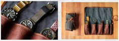 Soft roll watch case for travel or storage