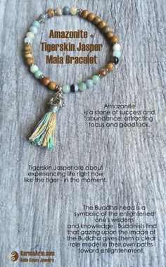 The unique Buddha Head tassel sets this multi-colored Amazonite & Tigerskin Jasper gemstone bead bracelet apart from the rest.  ~☆~   ABUNDANCE: Amazonite + Tigerskin Jasper Yoga Mala Bracelet