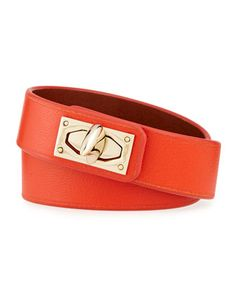 Calf Leather Shark-Lock Wrap Bracelet, Orange by Givenchy at Neiman Marcus.