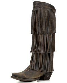 Eight Second Angel   Women's Coyote Fringe Cowgirl Tall Boot   Country Outfitter