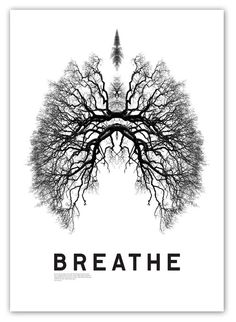BREATH, 'Lungs made of Branches', black and white illustration.