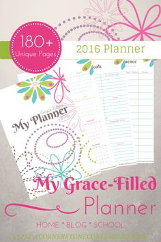 2016 Grace-Filled Planner Includes 180+ Unique Planning Pages in a simple but beautiful colorful design.