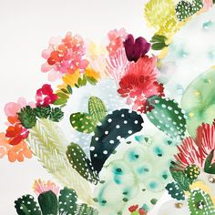 """1,042 Likes, 23 Comments - Yao Cheng (@yaochengdesign) on Instagram: """"Another view of the recent cactus series I've been painting, happy Thursday everyone!…"""""""