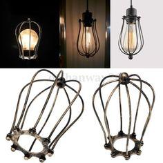 Bronze-vintage-metal-fil-de-fer-Lampe-bulbe-cage-Garde-de-lombre-pour-lumieres-industrielle