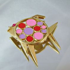 #Vintage Trifari Brooch Mod Retro Fish.  Red, Pink, Purple. $25.99, via Etsy. #jewelry