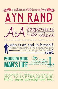 Poster wall art Ayn Rand quotes inspiration by redqueenpaperie, $15.00