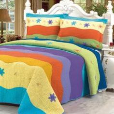 Capture the Rich Beautiful Colors of a Tropical Island for your bedroom! Colorful Ocean Quilt set by Blancho. Check out the new designs @ http://www.designedtoinspirebedding.com/