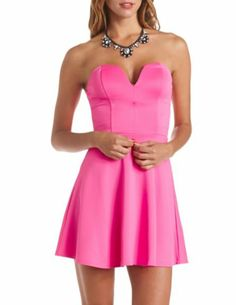 Plunging Sweetheart Skater Dress: Charlotte Russe, NWT Size M, 15 glitters