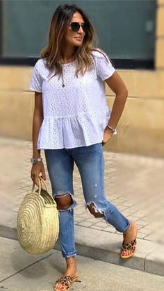 55 stylish outfits for summer to copy right now 99 55 stylish outfits for summer to copy right now 99 Neue Outfits, Boho Outfits, Stylish Outfits, Fashion Outfits, Peplum Top Outfits, Boho Spring Outfits, Peplum Tops, Winter Outfits, Crop Tops