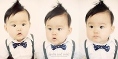 Bow tie and braces on a baby = adorable