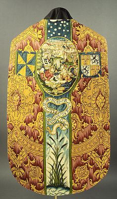 After a print by Hieronymus (Jerome) Wierix (Netherlandish, ca. 1553–1619). Chasuble with the Gathering of the Manna, 1570. The Metropolitan Museum of Art, New York. Rogers Fund, 1954 (54.176.2) | This Dutch tapestry chasuble, made around 1570, would have been worn by a priest during mass. #tapestrytuesday