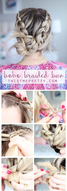 This gorgeous braided bohemian bun is such a fun and flirty style, perfect for any occasion! Come learn how to style it!