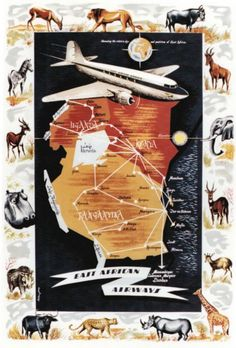 East African Airways, DC3 vintage travel poster by Jay Peter, 1950