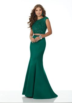 Sophisticated Two-Piece Prom Dress Featuring a Fully Beaded Bodice with Cap Sleeves and Fitted Satin Skirt