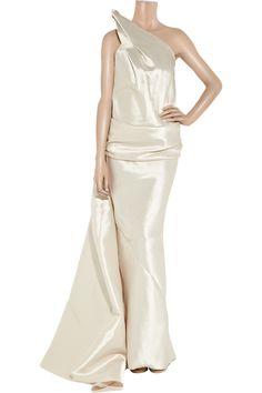 Donna Karan Asymmetric wool-blend gown